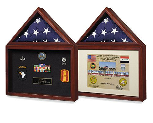 Reversible American Capitol Flag & Certificate Display Case Shadow Box for 3X5 USA Flag & 8.5X11