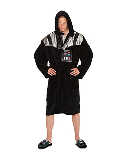bd648fae00 Star Wars Darth Vader Outfit Adult Fleece Bathrobe with Sound Effect Black  and Silver One size  Amazon.co.uk  Kitchen   Home