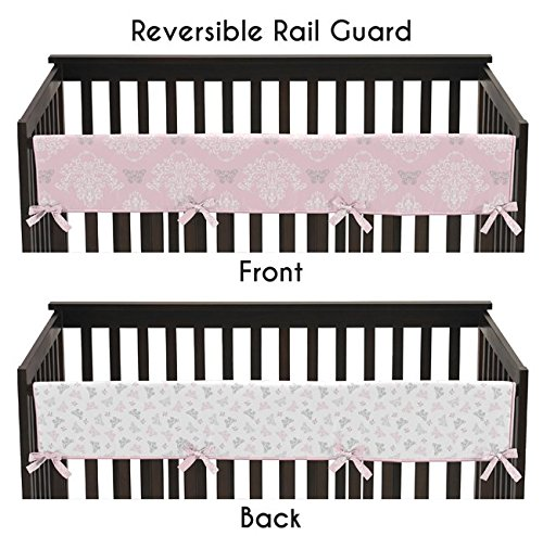 Sweet Jojo Designs Baby Crib Long Rail Guard Cover for Pink, Gray and White Shabby Chic Alexa Damask Butterfly Bedding Collection by Sweet Jojo Designs