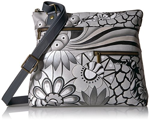 Large Hand Anuschka Painted Crossbody Pewter Leather Patchwork watqdq