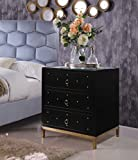 Iconic Home Prato Nightstand Side Table Mirror Glass Top with 3 Self Closing Lacquer Drawers Brass Finished Stainless Steel Frame Base, Modern Contemporary, Black