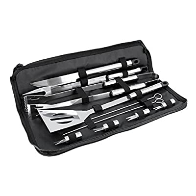 BBQ Masters 16 Piece Professional BBQ Grill Tool Set with Storage Case, Heavy Duty Stainless Steel by BBQ Masters