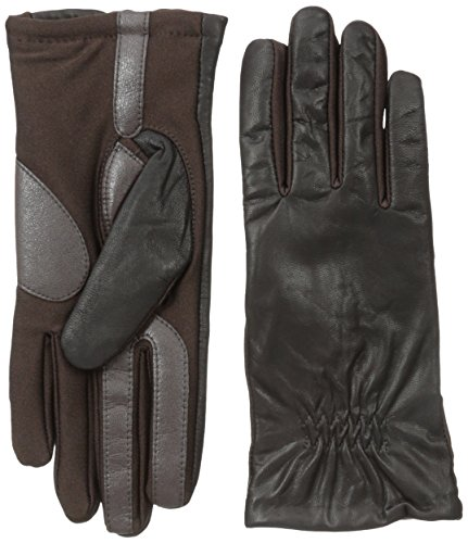 Isotoner Women's Smartouch Stretch Leather Glove with Partial Back Gather Fleece Lined, Brown, Medium/Large