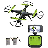Drone with Camera, 126W RC Quadcopter Drone with HD Camera, WiFi FPV Camera, Altitude Hold, Headless Mode, 3D Flips, NEW Design of 2017 - Green