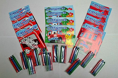24 Pc Fireman Party Favors Lot -Includes (12) Fire Fighter Mini Coloring Books and Crayons (Firefighter Coloring Book)