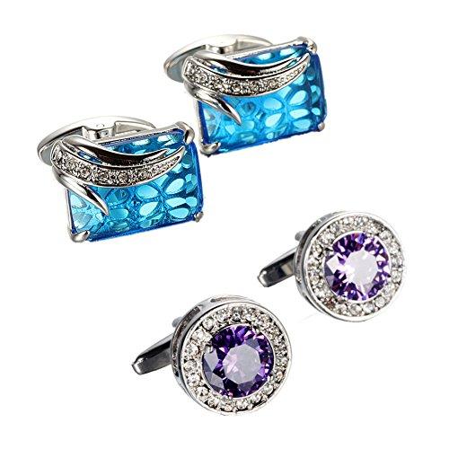 Symbol Chinese Cufflinks - WaMLFac Unique Design Stylish Modern Luxury Crystal Blue Stone Cufflinks for Shirt Wedding Business (2 Pairs(Purple+Blue))