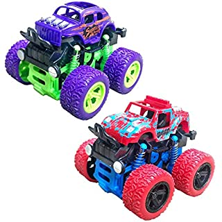 Monster Truck Toys, Off-Road Vehicles Toy Truck with 360 Degree Rotation Educational Off Road Toy Cars, Best Birthday Gift for Boy Girl Toddler Ages 3+, Race Truck Car Toy for Kid, 2 Pack