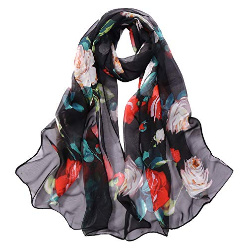XUANOU Fashion Women Roses Printing Long Soft Wrap Scarf Simulation Silk Shawl S -