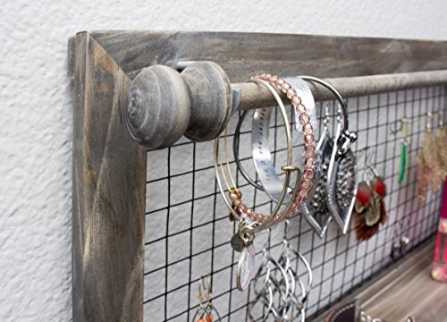 Review Jewelry Organizer with Bracelet Holder Rod (Rustic)