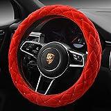 "honda emblem floor mats - Red Color Winter Short Plush Car Steering Wheel Cover Crystal Rhinestone Auto Heated Fur Steering-Wheel Covers Cases Universal Size 15"""