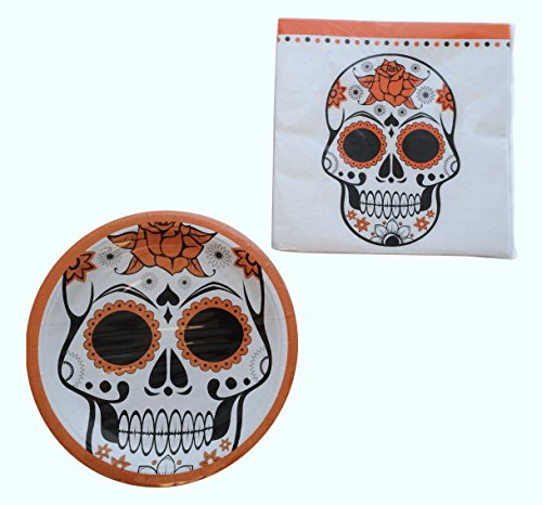 Halloween Party Plates and Napkins - Halloween Themed Sugar Skulls Party Supplies Pack - Serves 16 - Trick or Treat Decorations