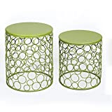 Joveco Green Round Iron End Table, Side Table. Bubble Pattern Beautiful, Stylish and Cute Nesting Table Set Perfect for Coffee Table, End Table, Accent Tables. Set of 2 Green Nesting Tables For Sale