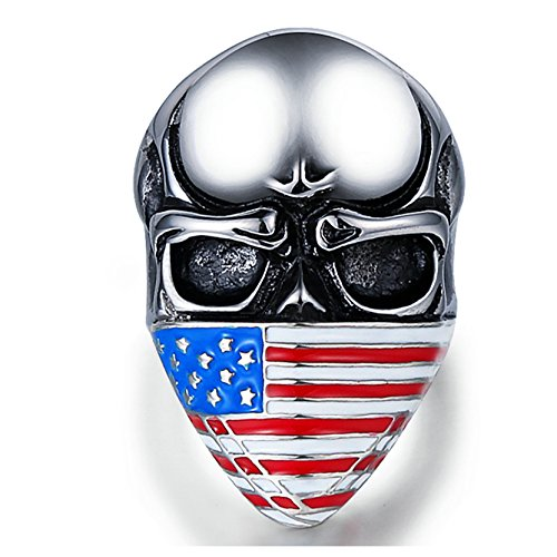 (AMDXD Jewellery Engagement Rings Stainless Steel Flag Skull Silver Rings Size 12)