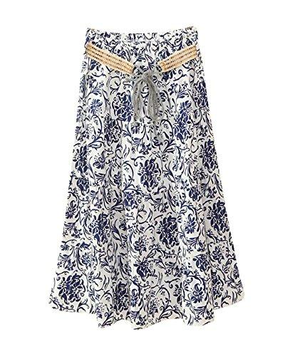 Bohme Line Longue Haute Casual Rtro Floral Style t Jupes Jupe A Femme Color Midi Taille Imprim 2 F6PwHUqw