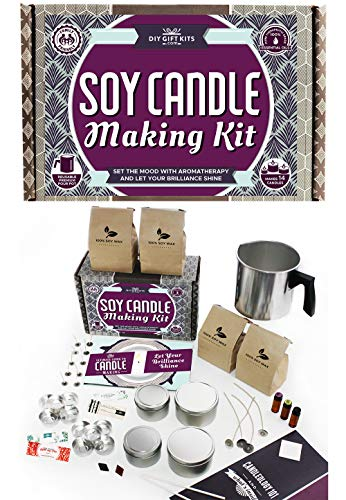 DIY Gift Kits Soy Candle Making Kit - for Adults (49-Piece Set) Become A Candle Maker Kit w/Wax, Wicks, Tin Containers, Essential Oils, Color Sticks | Creates Colorful, Large Scented Candles (Comfort Essentials Set)