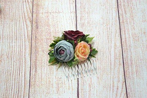 231bdf7d9e0e1 Burgundy flower comb Bridal flower comb Wedding comb Flower girl ...