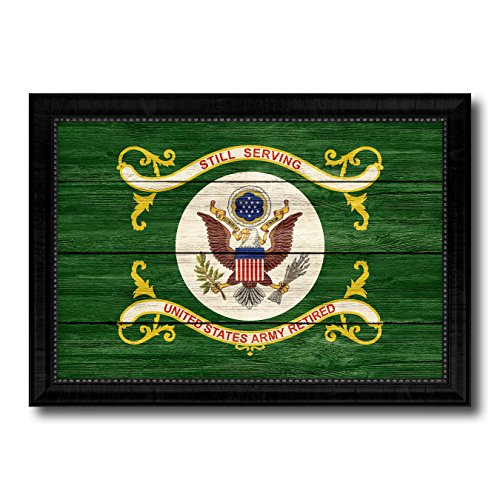 US Army Retired Military Flag Texture Canvas Print Black Picture Frame Home Decor Wall Art Decoration Gift Ideas Signs 15