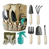 Scuddles 7 Piece Garden Tools Set with 7 Gardening Tools, Digger, Weeder, Rake, Trowel, Pruners, Transplanter, Garden Tote Bag and Gloves