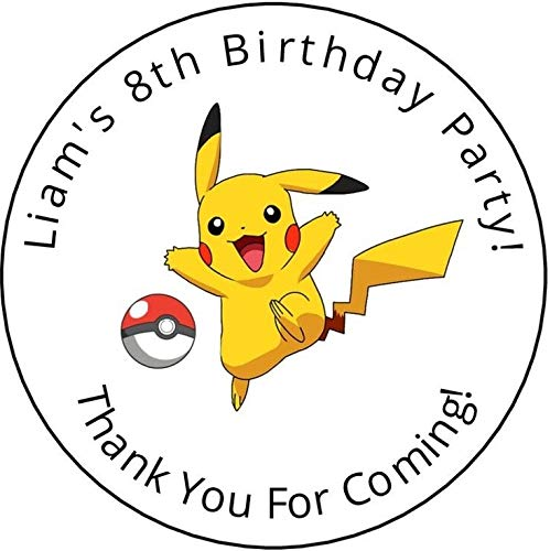 ahh101 12 Personalized Birthday Party Stickers, Labels, Tags,Pikachu -