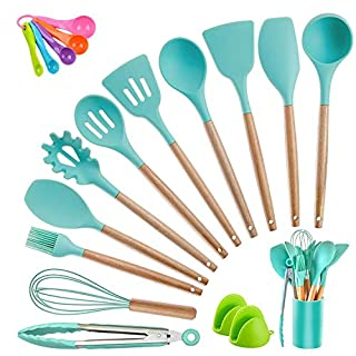 Kitchen Utensil Set Silicone Cooking Utensils, CROSDE 19pcs Kitchen Utensils Set Tools Wooden Handle Spoons Spatula Set Cookware Turner Tongs Kitchen Gadgets with Holder - Teal