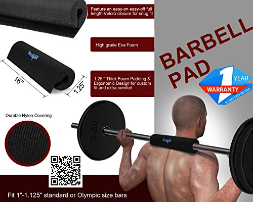 """Yes4All Barbell Squat Pad – Neck and Shoulder Protective Pad – Fits 1"""" Standard and 2"""" Olympic Bars"""