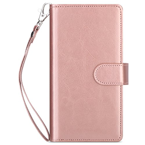 ULAK Galaxy Note 8 Case, Galaxy Note 8 Wallet Case, Multi Card Holders Full Protection Magnetic Flip Wallet Cover with Wrist Strap for Samsung Galaxy Note 8 Rose Gold