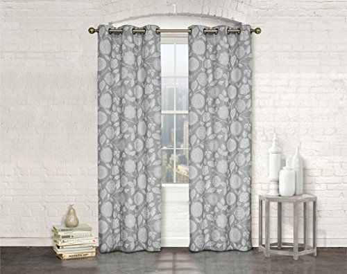 Studio 1012 Window Curtains – Set of Two Sheer Floral Print Grommet Panels 38″x 84″ – BUY ONE, GET ONE 50% OFF