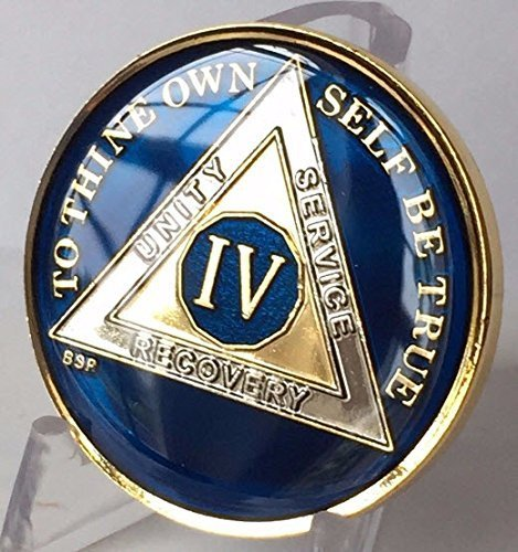 (Bright Star Press 4 Year Midnight Blue AA Gold & Nickel Tri-Plated Medallion Chip with Serenity Prayer)