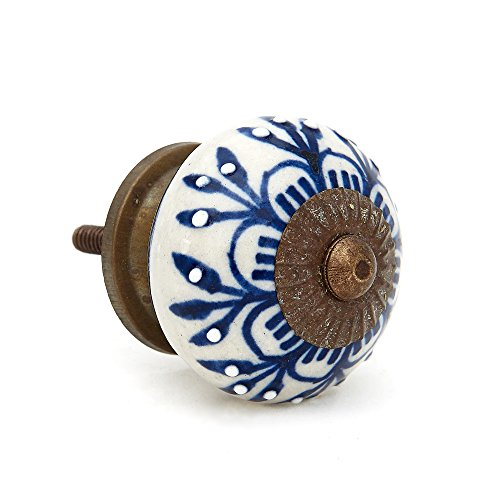 Blue Zinnia Flower Ceramic Knob Pull for Dresser, Cabinet, Drawers, Doors - Pack of 12