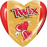 TWIX Valentines Caramel Minis Size Chocolate Cookie Bar Candy-Filled Hearts 1.25-oz. Heart 12-Count Box