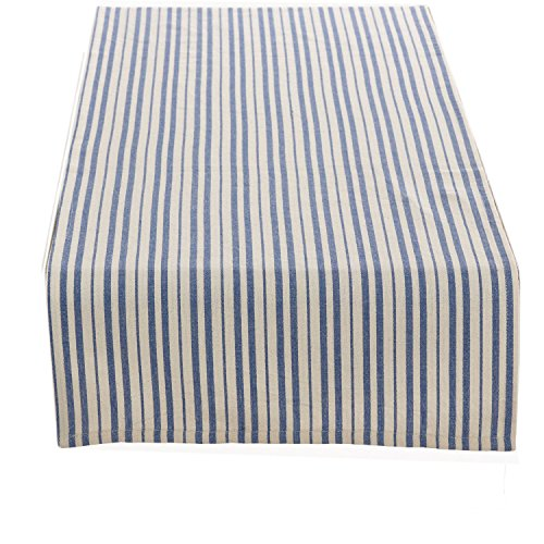 Fennco Styles Dauphine Collection French Blue Striped Design Table Runner - 100% Cotton (French Blue, 16