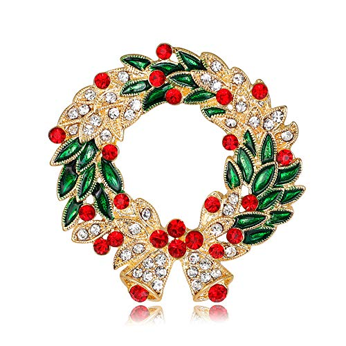 (Christmas Wreath Brooch Pin Winter Fashion Jewelry )