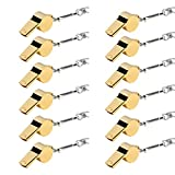 6MILES 12 Pcs Golden Copper Stainless Loud Whistles for Emergency Referee Coaches Training Sports With Black Lanyard