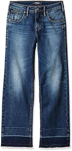 Silver Jeans Co. Women's Izzy High-Rise Wide-Leg Crop Jeans