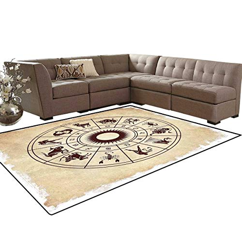 Zodiac Bath Mat 3D Digital Printing Mat Wheel of Horoscope Icons on The Distressed Backdrop Cosmos Occult Print Artwork Extra Large Area Rug 6'6
