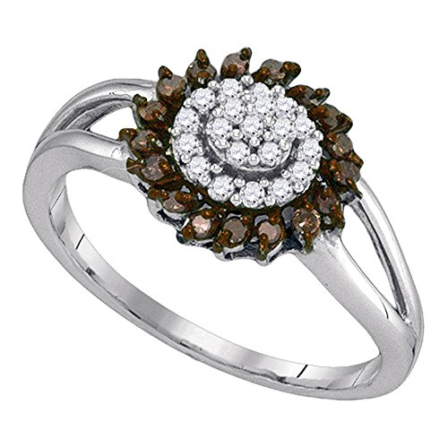 Sonia Jewels Size 7-10K White Gold Chocolate Brown & White Round Diamond Halo Circle Engagement Ring - Channel Set Round Center Setting Shape (1/4 cttw.)