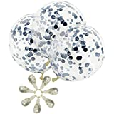 AMAWILL Sequins Silver Confetti Balloons - Creative 12 Inch Colorful Festival Balloon for Wedding Birthday Party Decoration Supplies