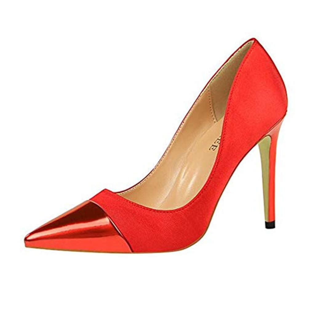 Pink GanQuan2018 Women Stiletto Thin High Heel Pointed Toe Slip on Sexy Dress Pumps