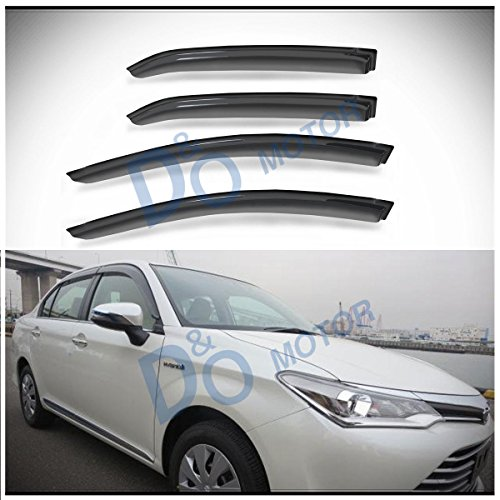 D&O MOTOR 4pcs Front+Rear JDM Smoke Sun/Rain Guard Outside Mount Tape-On Vent Shade Window Visors For 14-18 Toyota Corolla for sale