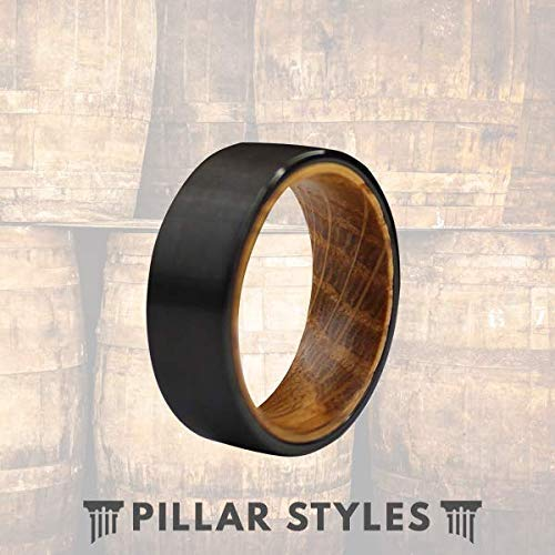 8mm Whiskey Barrel Rings Mens Wedding Band Tungsten and Wood Rings for Men Whisky Wood Wedding Ring