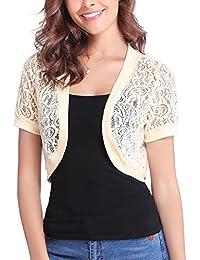 Women Short Sleeve Floral Lace Shrug Open Front Bolero...