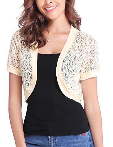 Lace Cardigan Sweater - Abollria Women Short Sleeve Floral Lace Shrug Open Front Bolero Cardigan Apricot