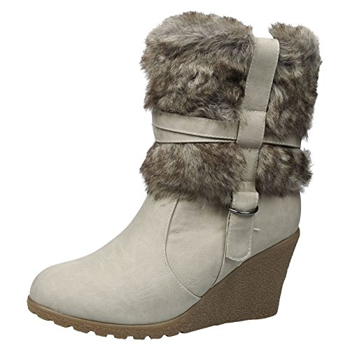 Feet First Fashion A5A Womens Ladies Wedge Faux Fur Lined Zip Up Ankle Warm Boots Womens Shoes Beige