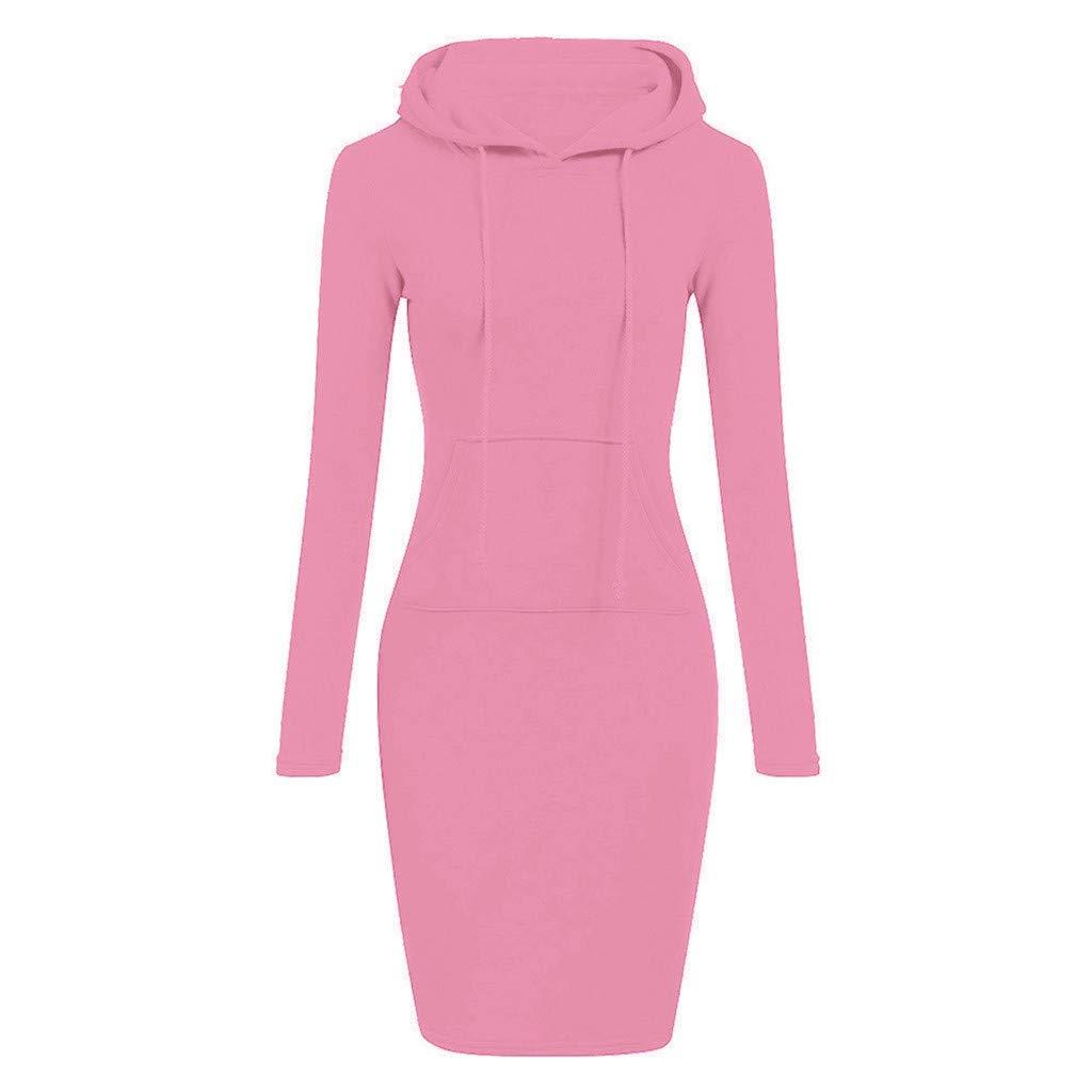 TOPUNDER Pullover Pocket Knee Length Slim Hoodie Dresses Casual Sweatshirt Dress Women (Small, Pink)