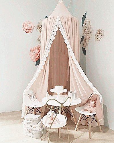 Toldo de algodón para niños, mosquitera de algodón, tienda de campaña para niños, decoración de habitación para bebé rosa rosa: Amazon.es: Bebé