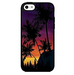Colorful Sunset Behind Palm Trees Silhoutte Hard Snap on Phone Case (iPhone 5c)