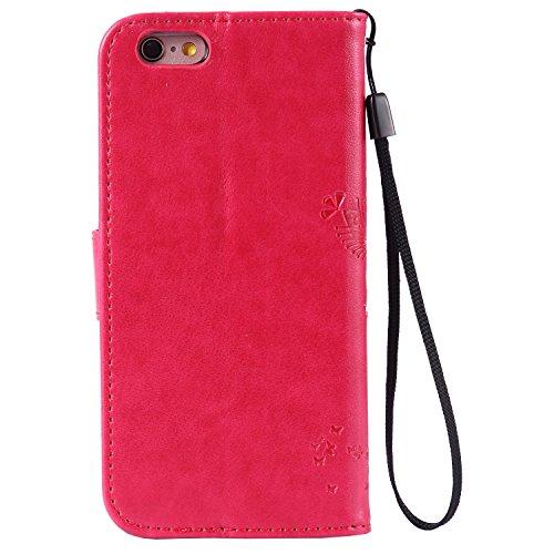 iPhone 6& 6S Geldbörse Fall–mooness (TM) Prägung Fashion Floral Landschaft PU Leder magnetischer Flip Cover Kartenhalter und Handschlaufe für iPhone 6S 11,9cm
