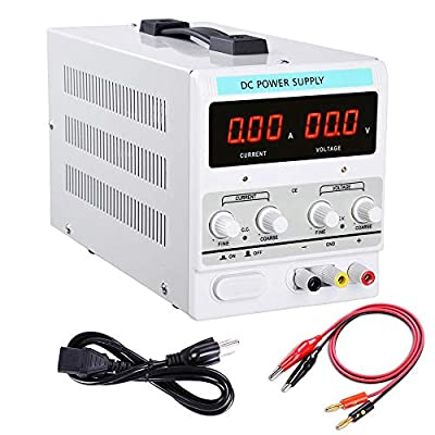 110V AC 30V 10A DC Power Supply Linear Precision Variable Dual Digital Regulated Adjustable w Power Cord Test Lead Set US Delivery