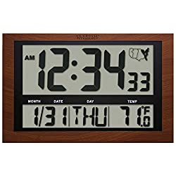 La Crosse Technology 513-1211A Jumbo Digital Atomic Temperature Wall Clock, Red Wood