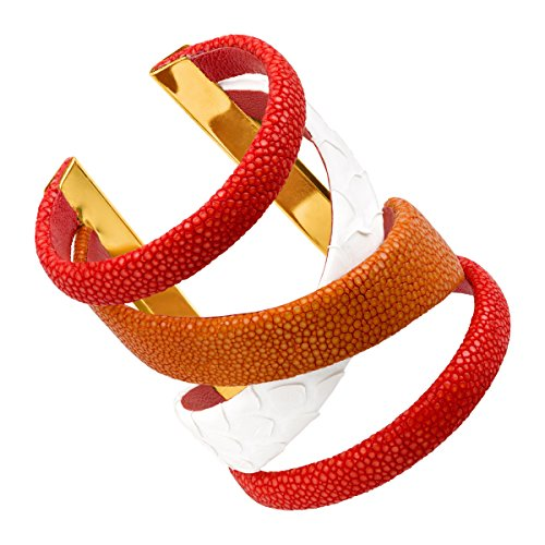 Cristina Sabatini Red Gladiator Cuff Bracelet with Genuine Stingray & Python Leather in 18K Gold-Plated Brass